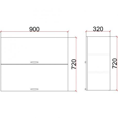 Corp superior bucatarie Martplast 1011, diverse culori, 90 x 32 x 72 cm