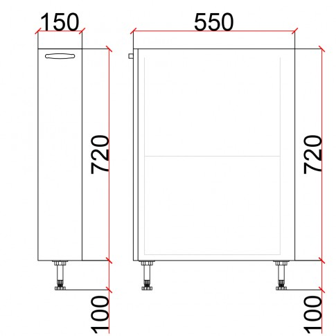Corp inferior bucatarie Martplast 3005, diverse culori, 15 x 55 x 82 cm