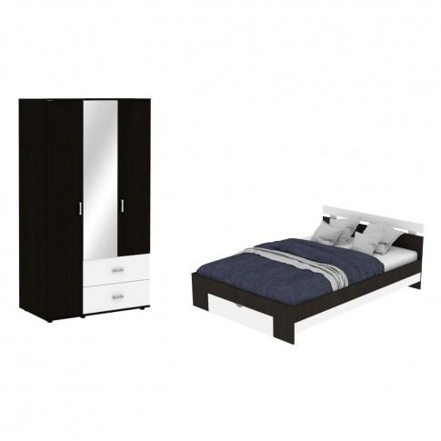 Dormitor Raul, pat + dulap, magia + alb, 6C