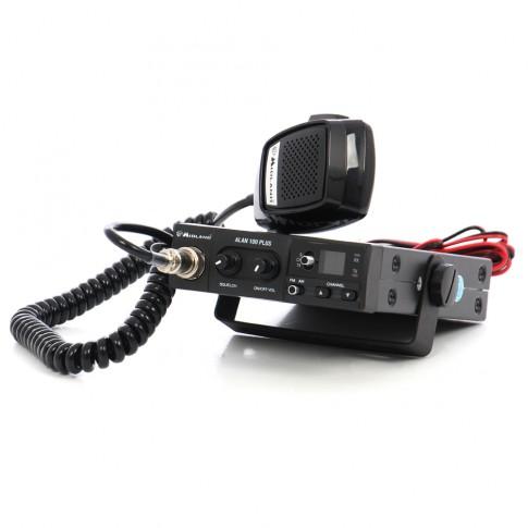 Statie radio auto CB Midland Alan 100 B plus, 4 W, 12 V, scanare canale, buton canale urgenta 9/19, conexiune difuzor suplimentar
