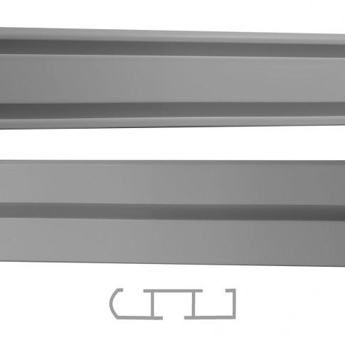 Sina aluminiu 300 cm, gri, 1/2 canale, prindere pe tavan, pentru perdea si draperie