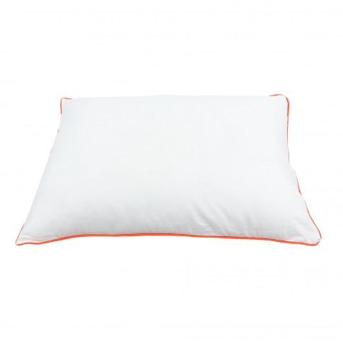 Perna pentru dormit Caressa, cu snur, fibra siliconica + bumbac, alba, 50 x 70 cm