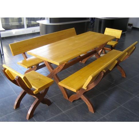 Set masa dreptunghiulara, cu 2 scaune si 2 banci, pentru gradina, din lemn