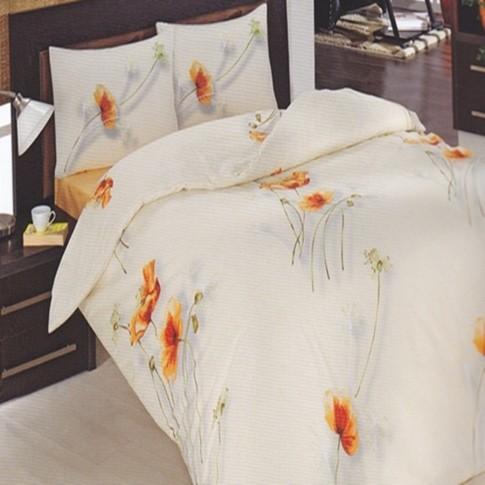 Lenjerie de pat, 2 persoane, Altinbasak Ranforce Nanzenin, bumbac 100%, 4 piese, crem
