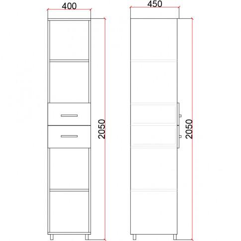 Etajera PAL + MDF Valentino LV18, diverse culori, 40 x 45 x 205 cm, 1C