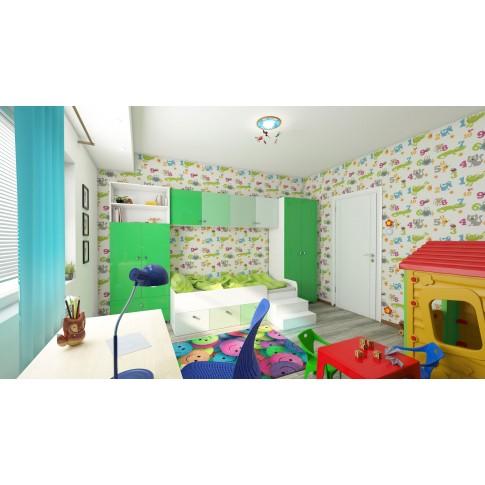 Dulap camera tineret Natalia T5, cu 2 usi + 2 sertare + rafturi, diverse culori, 80 x 215 x 35 cm, 1C