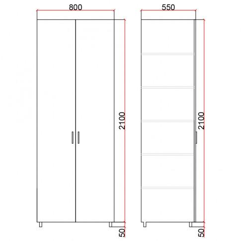 Dulap camera tineret Natalia T6, cu 2 usi, diverse culori, 80 x 215 x 55 cm, 1C