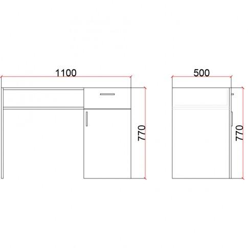 Birou camera tineret Natalia T13, cu o usa + 1 sertar, diverse culori, 110 x 77 x 50 cm, 1C