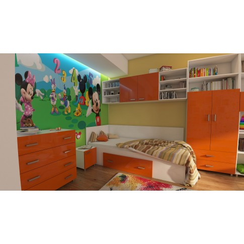 Pat de perete pentru copii Natalia T15, o persoana, cu sertar, diverse culori, 90 x 200 cm, 2C