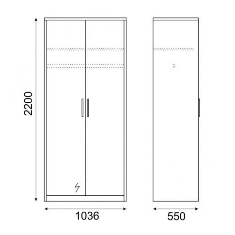 Dulap dormitor Stefan DS2, diverse culori, 2 usi, cu oglinda, 103.5 x 55 x 220 cm, 2C