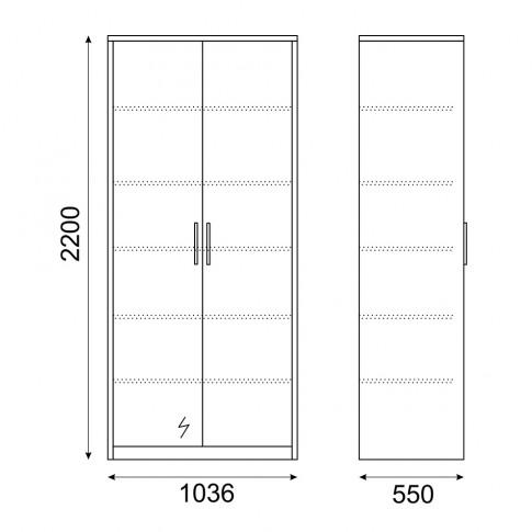 Dulap dormitor Stefan DS4, diverse culori, 2 usi, cu oglinda, 103.5 x 55 x 220 cm, 2C