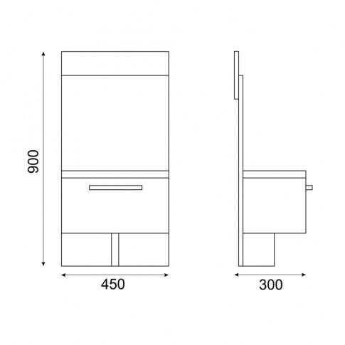 Noptiera Stefan DS9, cu 1 sertar, diverse culori, 45 x 90 x 30 cm, 1C
