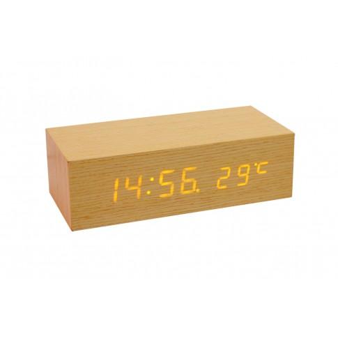 Ceas birou OC 02, digital, afisare temperatura, functie de amanare, 22 x 6.7 x 10 cm, finisaj stejar
