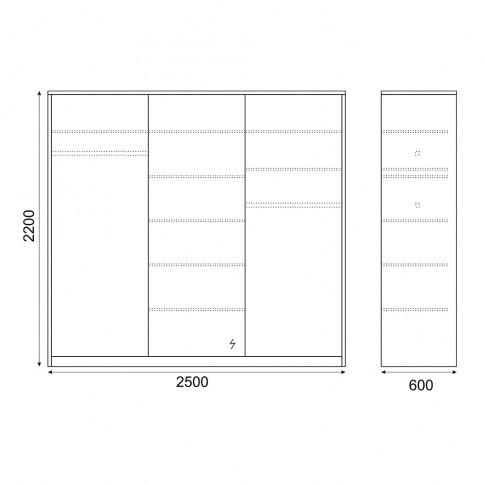 Dulap dormitor Stefan DS19, diverse culori, 3 usi glisante, cu oglinda, 250 x 60 x 220 cm, 5C