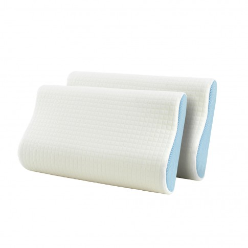 Perna pentru dormit, set 2 bucati, Dormeo Siena Pillow anatomice spuma cu memorie + poliester cu panza 3D Airmesh alb cu bleu 30 x 50 cm