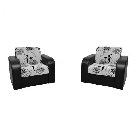 Canapea extensibila + fotolii Mini, negru + gri, 3C