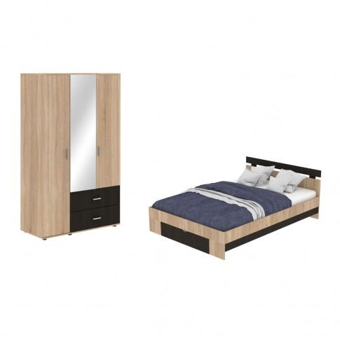Dormitor Raul, pat + dulap, stejar bardolino + magia, 6C