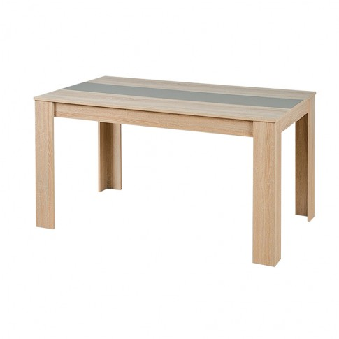 Masa bucatarie fixa Domus, dreptunghiulara, 4 persoane, stejar sonoma + latte / alb, 135 x 80.5 x 74.5 cm, 1C
