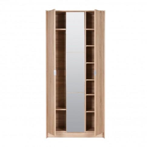 Dulap hol Kapri cu o agatatoare, oglinda si rafturi, stejar sonoma, 3 usi, 885 x 330 x 1915 mm, 2C