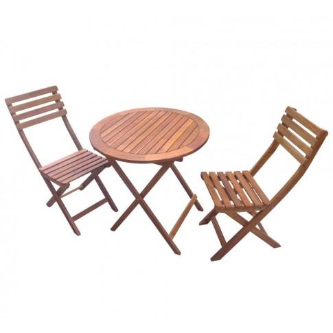 Set masa rotunda, cu 2 scaune, pentru gradina NP01051, din lemn