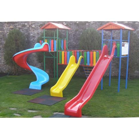 Tobogan copii, cu scara si turnuri, structura metalica, 484 x 470 x 355 cm