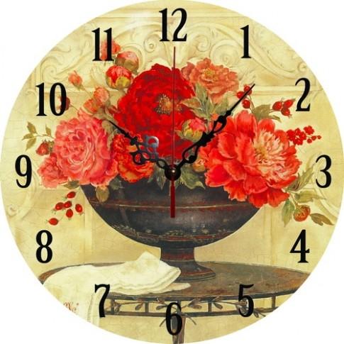 Ceas perete 34009, analog, rotund, din lemn, diametru 34 cm