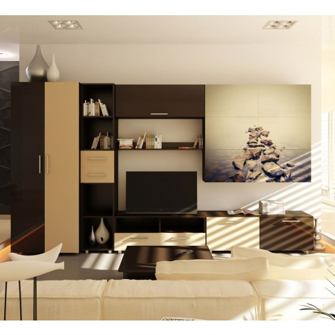 Biblioteca living Valentino, bej lucios + brun lucios + print pietre pe apa, 360 cm, 8C