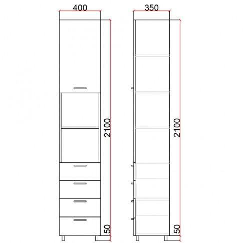 Dulap camera tineret Natalia T2.1, cu o usa + 4 sertare, diverse culori, 40 x 215 x 35 cm, 1C
