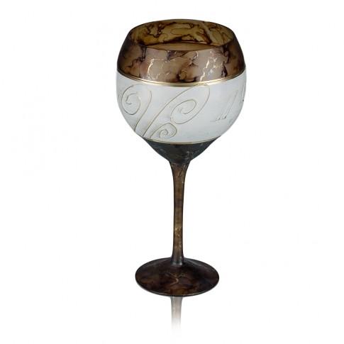 Sfesnic sticla decorativa, Daphne BVR/14, maro + crem + auriu, pictat manual, D 11 cm, H 22 cm