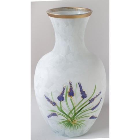 Vaza sticla decorativa, Lavanda 12/171, alb, pictata manual, 25 x 9 cm