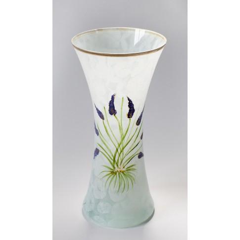 Vaza sticla decorativa, Lavanda VR 30/171, alb, pictata manual, H 30 cm