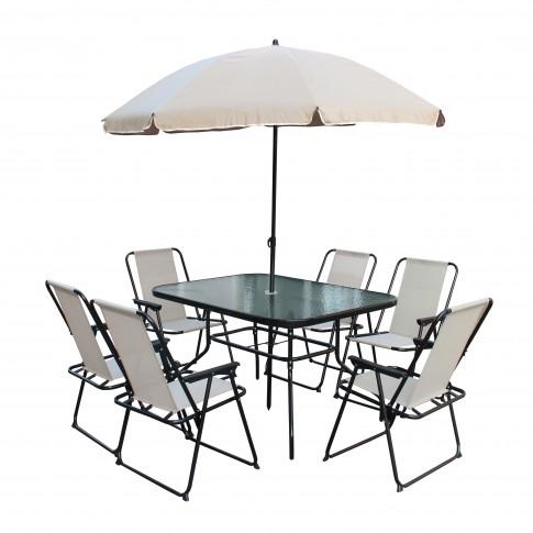 Set masa dreptunghiulara, cu 6 scaune + umbrela, pentru gradina AT-040, din metal cu textilen