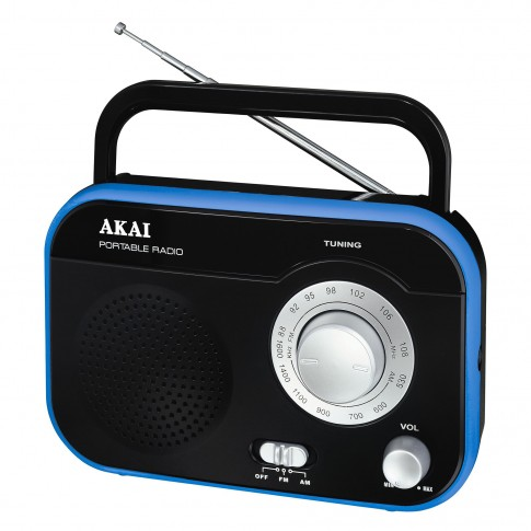 Radio FM / AM portabil Akai PR003A-410, 1 W, alimentare retea sau baterii, intrare casti 3.5 mm, antena FM telescopica