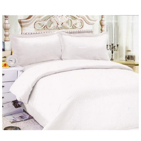 Lenjerie de pat, 2 persoane, Damasc, bumbac 100%, 4 piese, alb