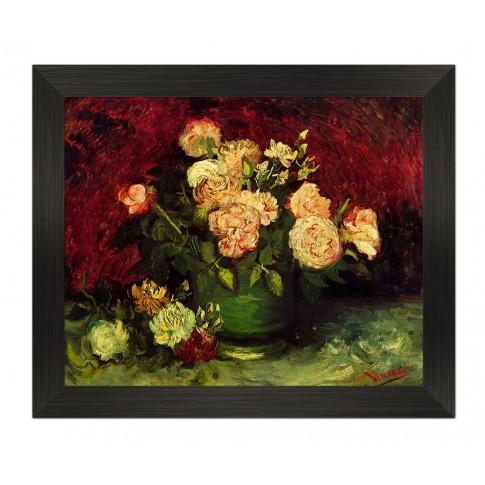 Tablou TI00885, compozitie cu flori, canvas + rama HDF, 30 x 40 cm