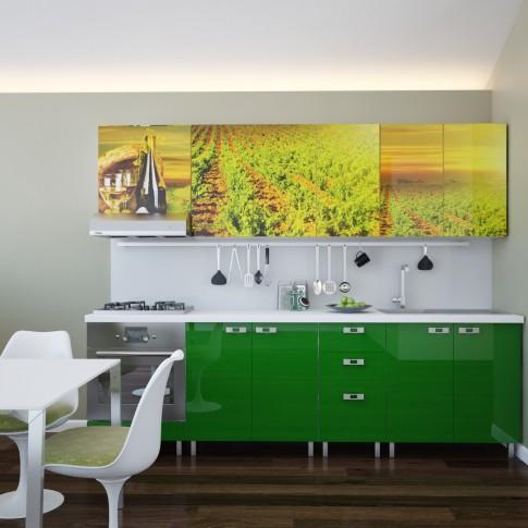 Bucatarie Print Celine C45, verde brotacel lucios + print vita de vie, 260 cm, 12C