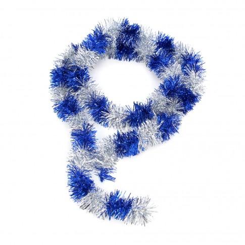 Beteala brad Craciun, albastru + argintiu, SYCOT-045, D 6 cm, 2 m