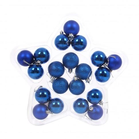 Globuri Craciun, albastre, diametru 5 cm, set 20 bucati, SYB15-422