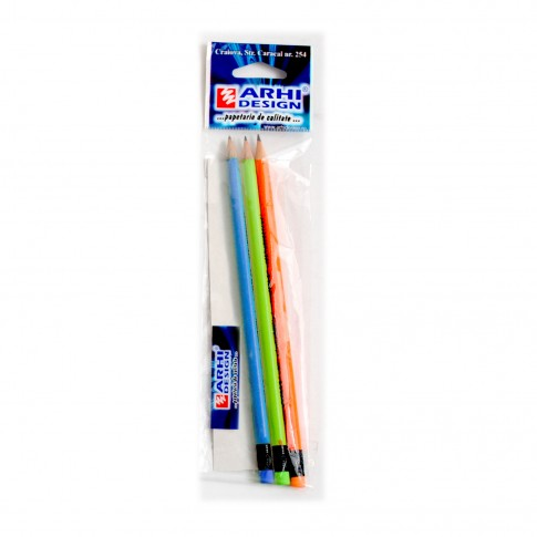 Creion cu radiera Lyra, corp neon, HB/2, set 3 bucati