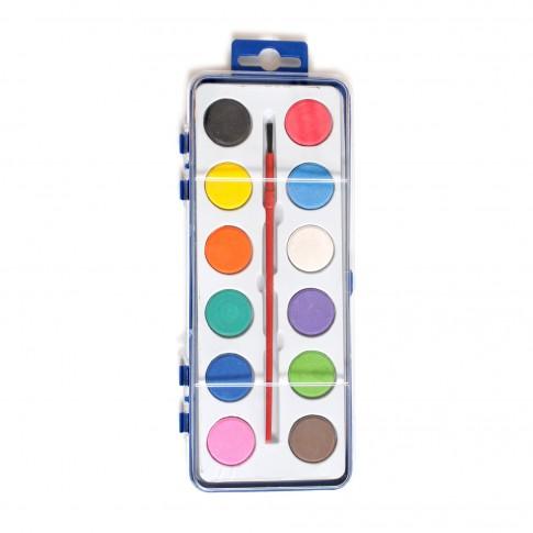 Acuarele + pensula Giotto, set 12 culori