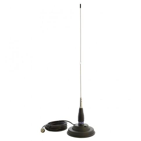 Antena statie radio CB PNI ML145, exterior, cu baza magnetica 125 mm + cablu 4 m + mufa PL259, 400 W, impedanta 50 Ohmi, 1.45 m, distanta de comunicare 15 km