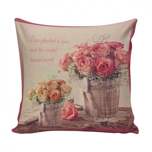 Perna decor FLO-011, bej + roz + galben, poliester + fibra poliester siliconizata, cu print floral, 43 x 43 cm