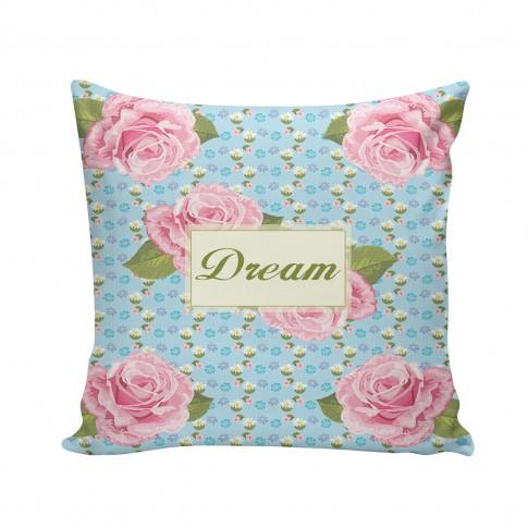 Perna decor FLO-001, roz + verde + bleu, poliester + fibra poliester siliconizata, cu print floral, 43 x 43 cm