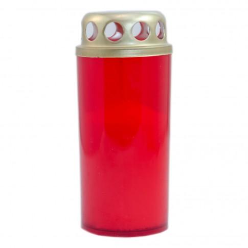 Candela decorativa M3, plastic + capac metal, h 12 cm, timp ardere 25 ore, rosie