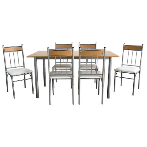 Set masa fixa cu 6 scaune tapitate AA0170, bucatarie, fag + bej