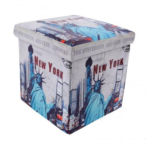 Taburet Statue of Liberty tip cub, cu spatiu depozitare, pliabil, patrat, imitatie piele multicolora, 38 x 38 x 38 cm