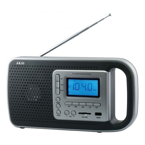 Radio FM portabil Akai PR005A-420B, 2.5 W, alimentare retea sau acumulator, USB, SD card reader, Aux in, functie alarma, antena FM telescopica
