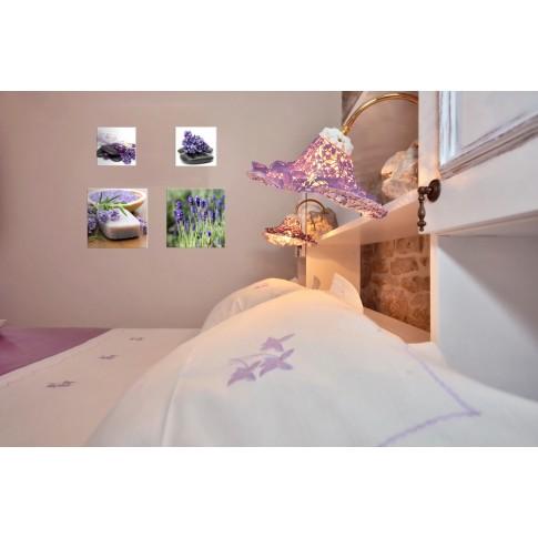 Tablou, 4 piese, Lavanda COL001, canvas + lemn de brad, 2 piese - 30 x 30 cm + 2 piese - 20 x 20 cm
