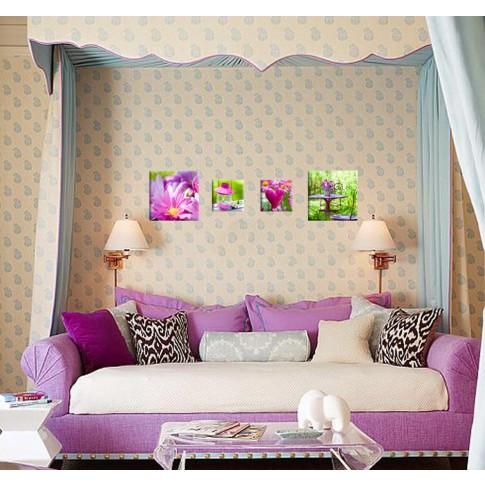 Tablou, 4 piese, Roz COL007, canvas + lemn de brad, 2 piese - 30 x 30 cm + 2 piese - 20 x 20 cm