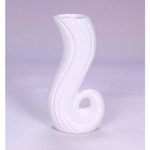 Vaza ceramica decorativa, 0529 215, alb, model in relief, 7 x 5 x 14 cm